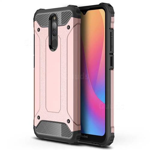King Kong Armor Premium Shockproof Dual Layer Rugged Hard Cover for Mi Xiaomi Redmi 8 - Rose Gold