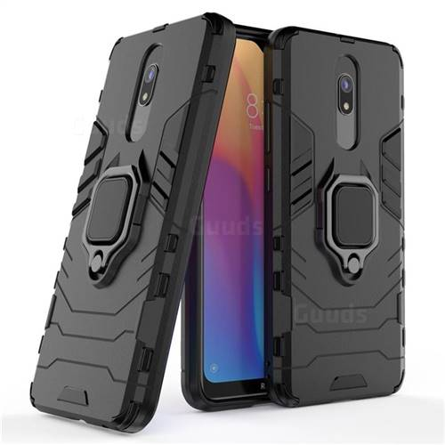 Black Panther Armor Metal Ring Grip Shockproof Dual Layer Rugged Hard Cover for Mi Xiaomi Redmi 8 - Black