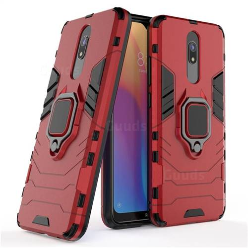 Black Panther Armor Metal Ring Grip Shockproof Dual Layer Rugged Hard Cover for Mi Xiaomi Redmi 8 - Red