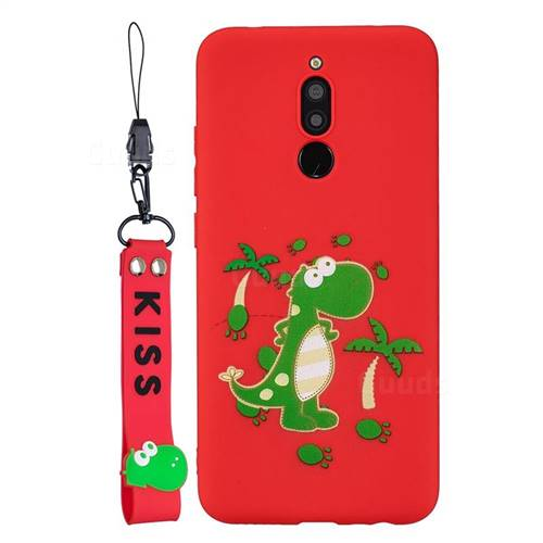 Red Dinosaur Soft Kiss Candy Hand Strap Silicone Case for Mi Xiaomi Redmi 8