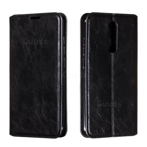 Retro Slim Magnetic Crazy Horse PU Leather Wallet Case for Mi Xiaomi Redmi 8 - Black