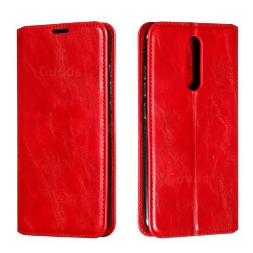 Retro Slim Magnetic Crazy Horse PU Leather Wallet Case for Mi Xiaomi Redmi 8 - Red