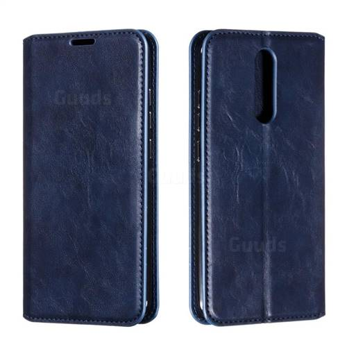 Retro Slim Magnetic Crazy Horse PU Leather Wallet Case for Mi Xiaomi Redmi 8 - Blue