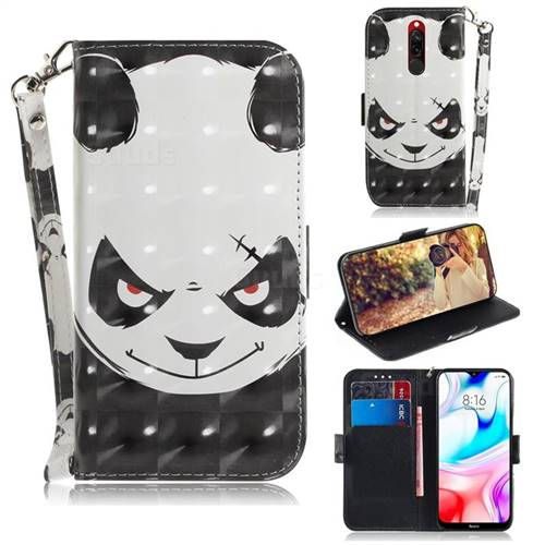 Angry Bear 3D Painted Leather Wallet Phone Case for Mi Xiaomi Redmi 8