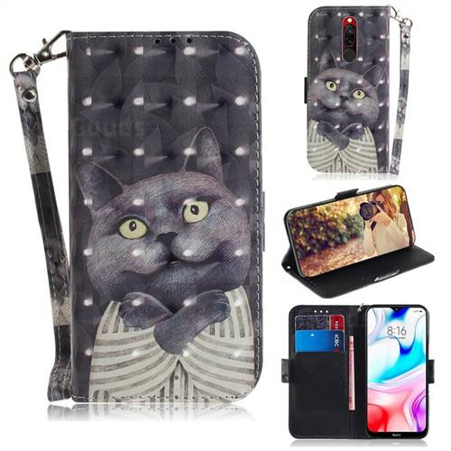 Cat Embrace 3D Painted Leather Wallet Phone Case for Mi Xiaomi Redmi 8