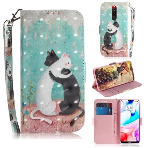 Black and White Cat 3D Painted Leather Wallet Phone Case for Mi Xiaomi Redmi 8
