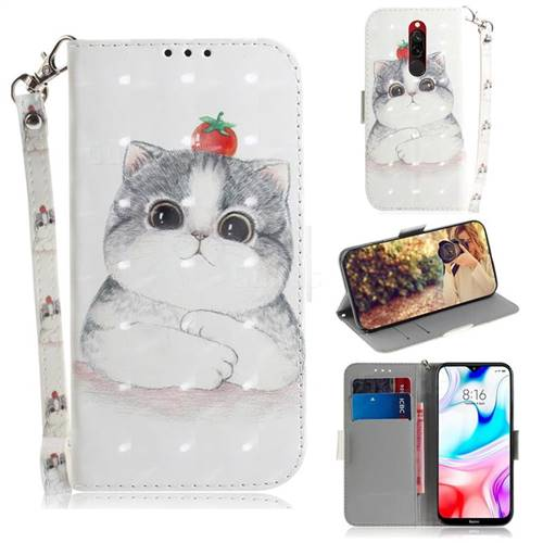 Cute Tomato Cat 3D Painted Leather Wallet Phone Case for Mi Xiaomi Redmi 8
