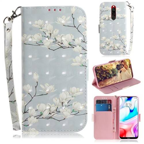 Magnolia Flower 3D Painted Leather Wallet Phone Case for Mi Xiaomi Redmi 8