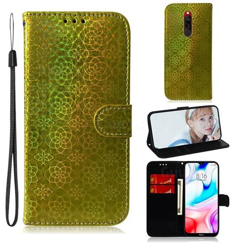 Laser Circle Shining Leather Wallet Phone Case for Mi Xiaomi Redmi 8 - Golden