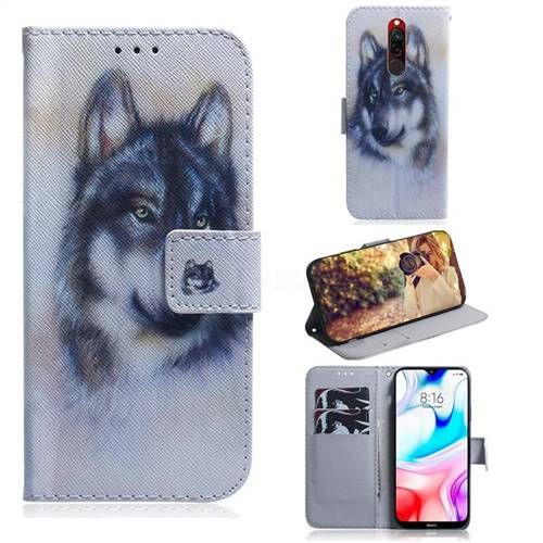 Snow Wolf PU Leather Wallet Case for Mi Xiaomi Redmi 8