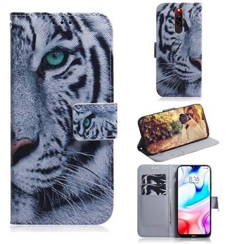 White Tiger PU Leather Wallet Case for Mi Xiaomi Redmi 8