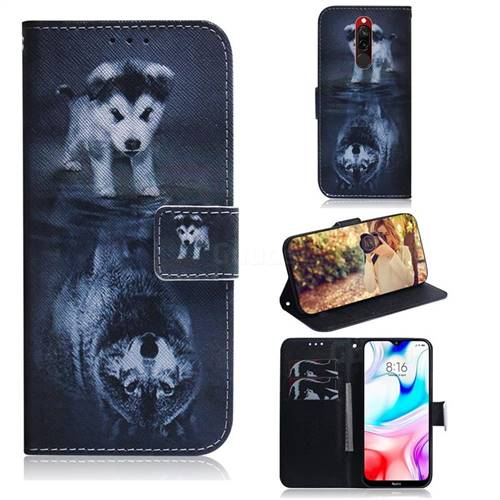 Wolf and Dog PU Leather Wallet Case for Mi Xiaomi Redmi 8