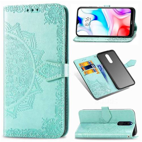 Embossing Imprint Mandala Flower Leather Wallet Case for Mi Xiaomi Redmi 8 - Green