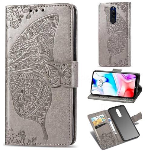 Embossing Mandala Flower Butterfly Leather Wallet Case for Mi Xiaomi Redmi 8 - Gray