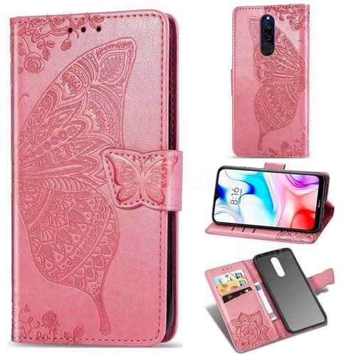 Embossing Mandala Flower Butterfly Leather Wallet Case for Mi Xiaomi Redmi 8 - Pink