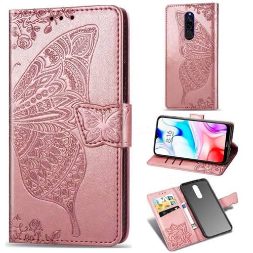 Embossing Mandala Flower Butterfly Leather Wallet Case for Mi Xiaomi Redmi 8 - Rose Gold