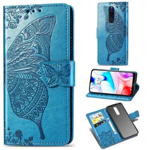Embossing Mandala Flower Butterfly Leather Wallet Case for Mi Xiaomi Redmi 8 - Blue