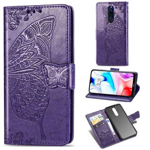Embossing Mandala Flower Butterfly Leather Wallet Case for Mi Xiaomi Redmi 8 - Dark Purple