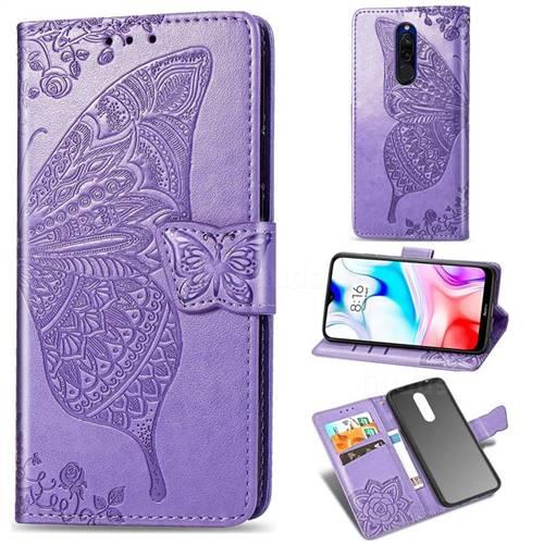 Embossing Mandala Flower Butterfly Leather Wallet Case for Mi Xiaomi Redmi 8 - Light Purple