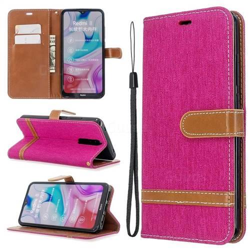 Jeans Cowboy Denim Leather Wallet Case for Mi Xiaomi Redmi 8 - Rose