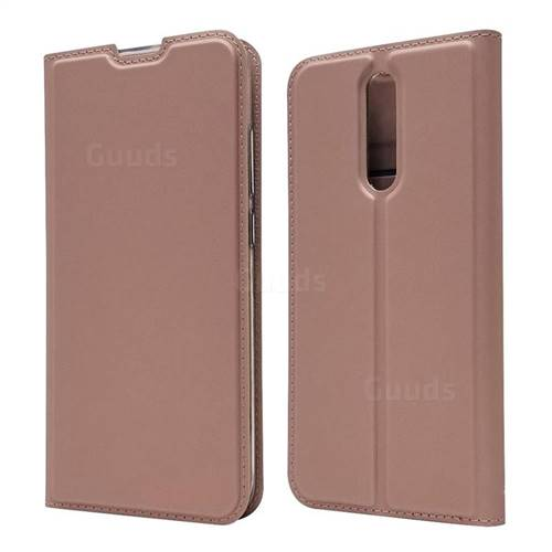 Ultra Slim Card Magnetic Automatic Suction Leather Wallet Case for Mi Xiaomi Redmi 8 - Rose Gold