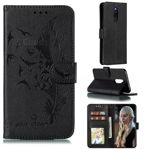 Intricate Embossing Lychee Feather Bird Leather Wallet Case for Mi Xiaomi Redmi 8 - Black