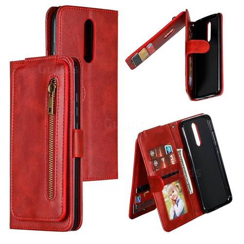 Multifunction 9 Cards Leather Zipper Wallet Phone Case for Mi Xiaomi Redmi 8 - Red