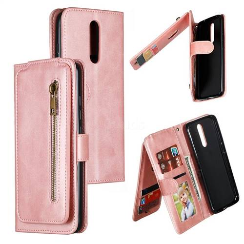 Multifunction 9 Cards Leather Zipper Wallet Phone Case for Mi Xiaomi Redmi 8 - Rose Gold