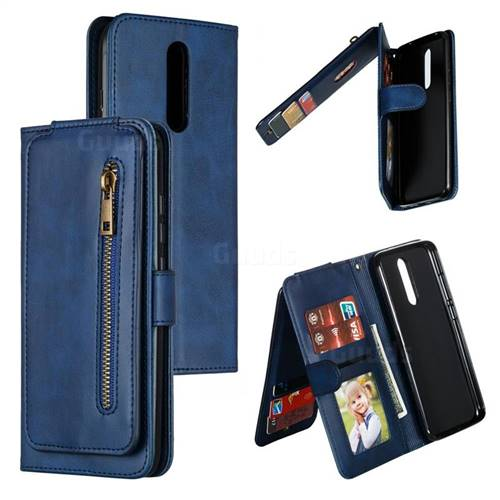 Multifunction 9 Cards Leather Zipper Wallet Phone Case for Mi Xiaomi Redmi 8 - Blue
