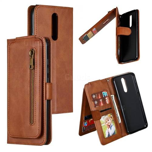 Multifunction 9 Cards Leather Zipper Wallet Phone Case for Mi Xiaomi Redmi 8 - Brown