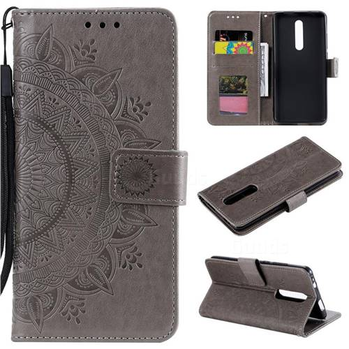 Intricate Embossing Datura Leather Wallet Case for Mi Xiaomi Redmi 8 - Gray