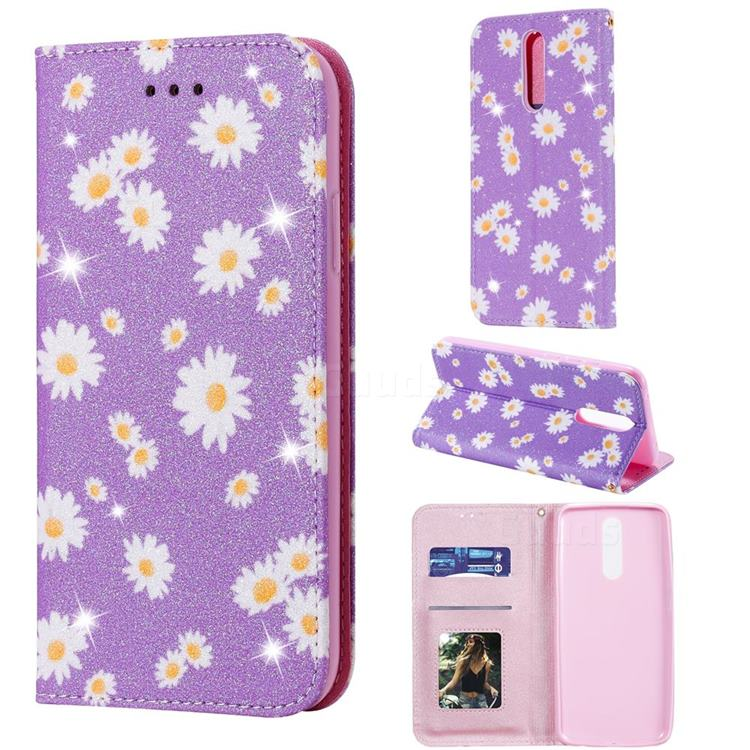 Ultra Slim Daisy Sparkle Glitter Powder Magnetic Leather Wallet Case for Mi Xiaomi Redmi 8 - Purple