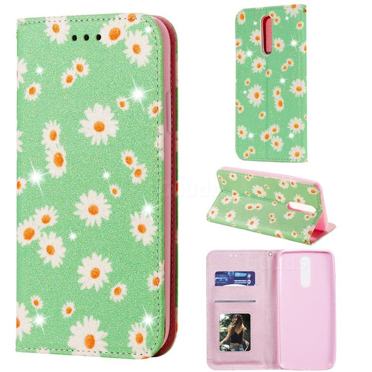 Ultra Slim Daisy Sparkle Glitter Powder Magnetic Leather Wallet Case for Mi Xiaomi Redmi 8 - Green