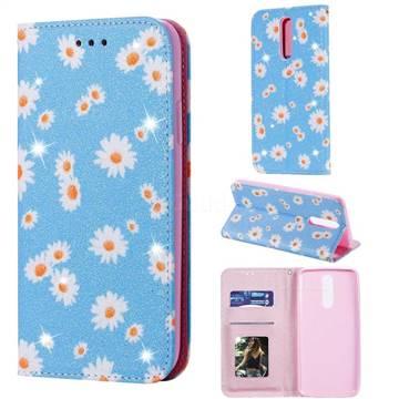 Ultra Slim Daisy Sparkle Glitter Powder Magnetic Leather Wallet Case for Mi Xiaomi Redmi 8 - Blue
