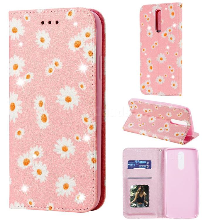 Ultra Slim Daisy Sparkle Glitter Powder Magnetic Leather Wallet Case for Mi Xiaomi Redmi 8 - Pink