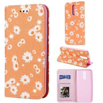 Ultra Slim Daisy Sparkle Glitter Powder Magnetic Leather Wallet Case for Mi Xiaomi Redmi 8 - Orange