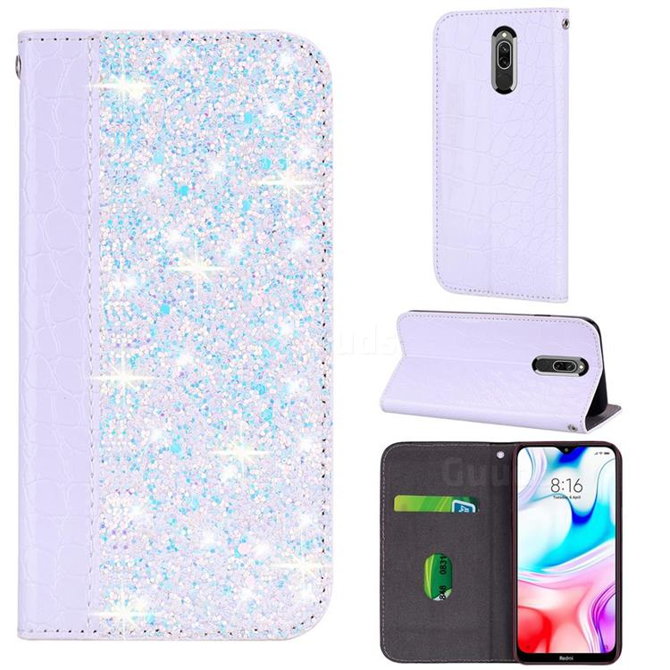 Shiny Crocodile Pattern Stitching Magnetic Closure Flip Holster Shockproof Phone Case for Mi Xiaomi Redmi 8 - White Silver