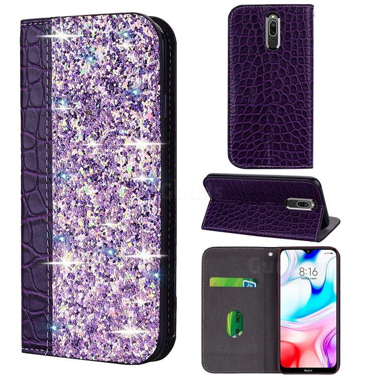 Shiny Crocodile Pattern Stitching Magnetic Closure Flip Holster Shockproof Phone Case for Mi Xiaomi Redmi 8 - Purple