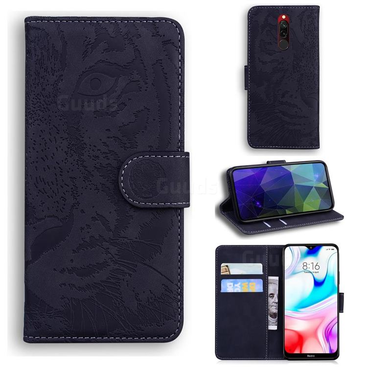 Intricate Embossing Tiger Face Leather Wallet Case for Mi Xiaomi Redmi 8 - Black