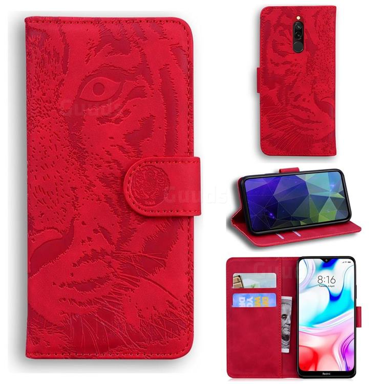 Intricate Embossing Tiger Face Leather Wallet Case for Mi Xiaomi Redmi 8 - Red