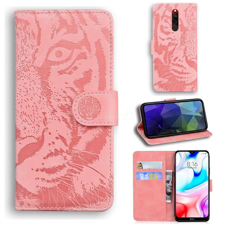 Intricate Embossing Tiger Face Leather Wallet Case for Mi Xiaomi Redmi 8 - Pink