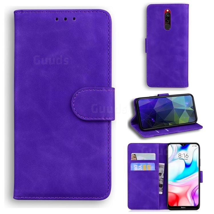 Retro Classic Skin Feel Leather Wallet Phone Case for Mi Xiaomi Redmi 8 - Purple