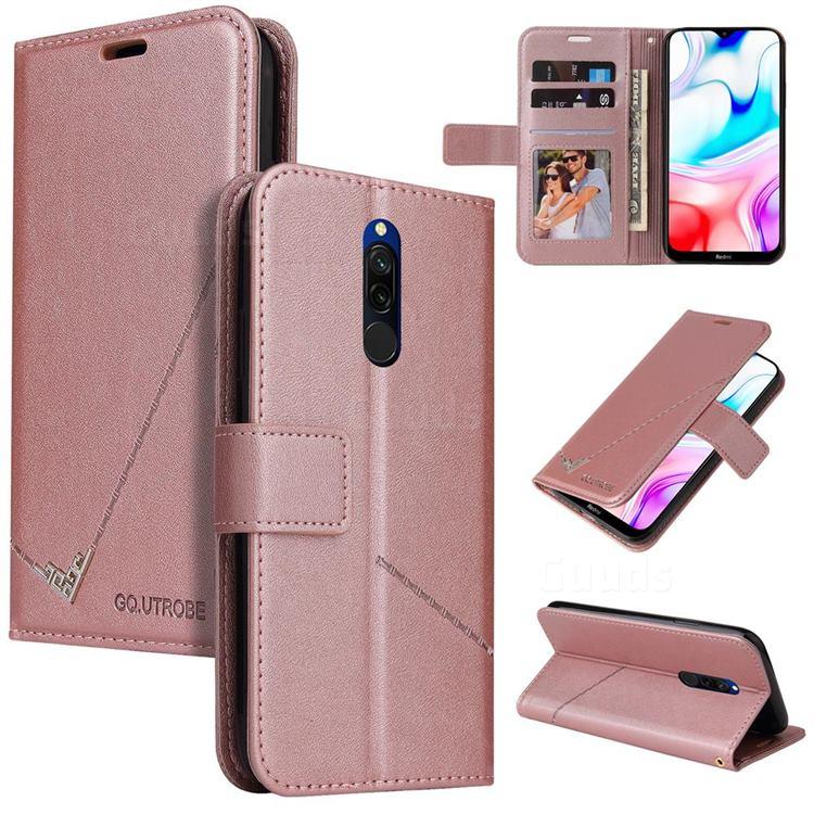 GQ.UTROBE Right Angle Silver Pendant Leather Wallet Phone Case for Mi Xiaomi Redmi 8 - Rose Gold