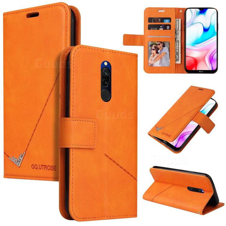 GQ.UTROBE Right Angle Silver Pendant Leather Wallet Phone Case for Mi Xiaomi Redmi 8 - Orange