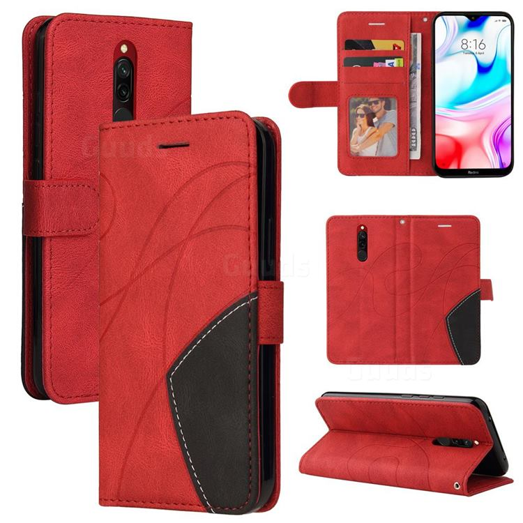 Luxury Two-color Stitching Leather Wallet Case Cover for Mi Xiaomi Redmi 8 - Red