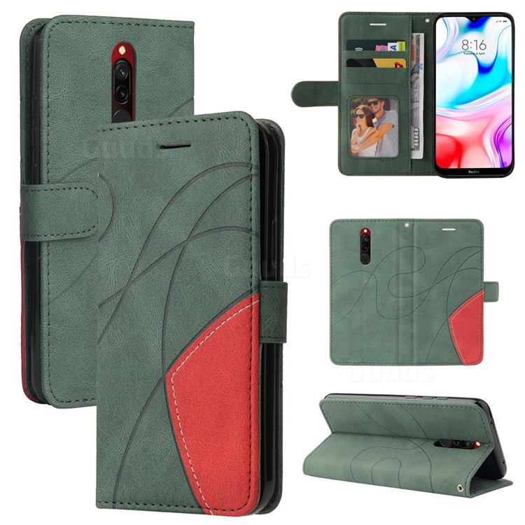 Luxury Two-color Stitching Leather Wallet Case Cover for Mi Xiaomi Redmi 8 - Green