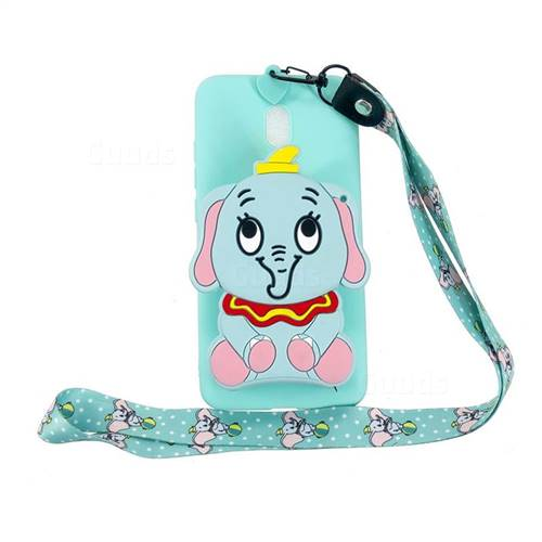 Blue Elephant Neck Lanyard Zipper Wallet Silicone Case for Mi Xiaomi Redmi 8A