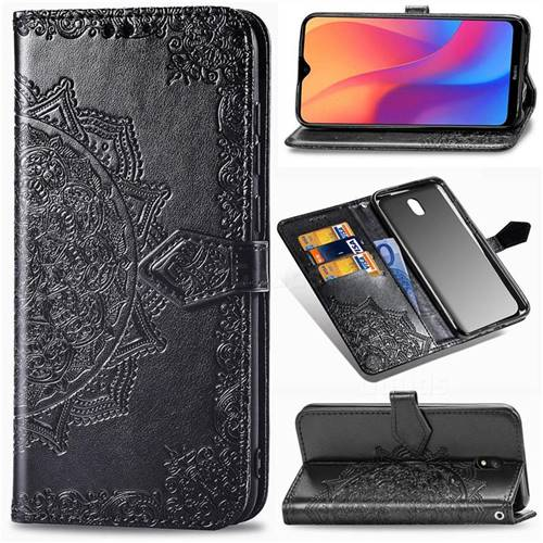 Embossing Imprint Mandala Flower Leather Wallet Case for Mi Xiaomi Redmi 8A - Black