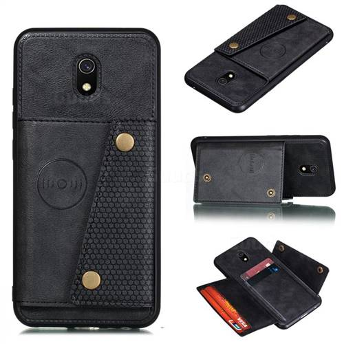 Retro Multifunction Card Slots Stand Leather Coated Phone Back Cover for Mi Xiaomi Redmi 8A - Black