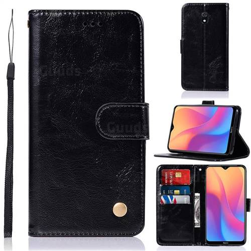 Luxury Retro Leather Wallet Case for Mi Xiaomi Redmi 8A - Black
